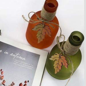 Accents - Set of two Glass Fall Leaf Bottles